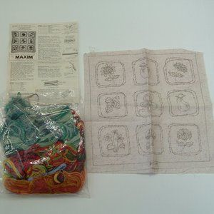 VTG crewel embroidery kit sign of spring pillow